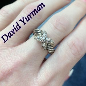 David Yurman Classic Cable Pave Diamond X Ring